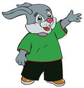 Hare in bright clothes cartoon Royalty Free Stock Images