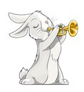 Hare playing trumpet vector illustration on white background Stock Photos