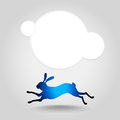 Hare running silhouette vector on a grey background Royalty Free Stock Images