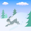 Hare running in the winter forest.