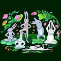 Hares are doing yoga exercises illustration many Stock Images