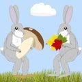 Hares with mushroom