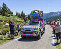 Haribo car in pyrenees mountains port de pailheres france july during the passing of the advertising caravan on the climbing route Royalty Free Stock Image