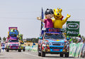 Haribo vehicles saint aoustrille france july during the passing of the advertising caravan at the intermediate sprint point during Royalty Free Stock Images