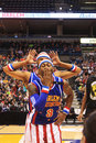 Harlem Globetrotter 'Firefly' Blowing Kisses / Being Silly in Milwaukee, WI Royalty Free Stock Photo