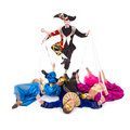 Harlequin and Puppets Stock Images