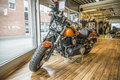 Harley davidson dyna fat bob model fxdf photo is shot in an authorized shop in sarpsborg norway one day in march Royalty Free Stock Images