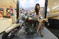 Harley davidson model posing on a motorcycle in the city of solo central java indonesia Royalty Free Stock Photography