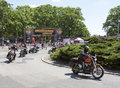 Harley davidson motorcycle event motorcyclists are leaving super rally on may in wroclaw poland europe s largest annual Royalty Free Stock Photography