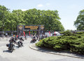 Harley davidson motorcycle event motorcyclists are leaving super rally on may in wroclaw poland europe s largest annual Royalty Free Stock Image