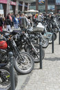Harley davidson motorcycle parked in the city view of during super rally on may wroclaw poland europe s largest Royalty Free Stock Photography