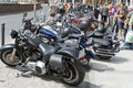 Harley davidson motorcycle parked in the city view of during super rally on may wroclaw poland europe s largest Stock Photography