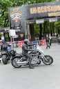 Harley davidson motorcycle riders in front of the gate super rally on may in wroclaw poland europe s largest Royalty Free Stock Images
