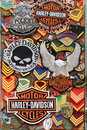 Harley davidson patches athens greece may and other used by bikers stitched to their clothes representing motorbike lifestyle sold Royalty Free Stock Image