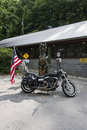 Harley parked at deals gap tail of the Stock Photography