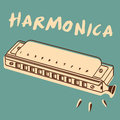 Harmonica illustrations of a mouth organ retro style Stock Photos