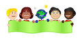 Harmony kids save the earth banner illustration and children holding saving blank Royalty Free Stock Photo