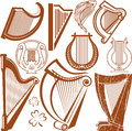 Harp collection clip art of various types of Royalty Free Stock Photos