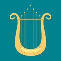 Harp icon golden stringed musical instrument classical orchestra art sound tool and acoustic symphony stringed fiddle