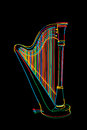 Harp sketch decorated in colors over black Stock Images