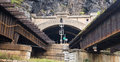 Harpers ferry west virginia iron railroad bridges Royalty Free Stock Photo