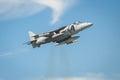 Harrier jump jet farnborough uk july a spanish navy performing a vertical thrust hover maneuver near farnborough hampshire uk Royalty Free Stock Photo