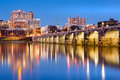 Harrisburg skyline and the historic Market Street Bridge at dusk Royalty Free Stock Photo