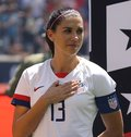 U.S. Women`s National Soccer Team captain Alex Morgan #13 during National Anthem before friendly game against Mexico