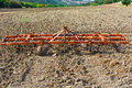 Harrow landscape with on the plowed field in spain Royalty Free Stock Photography