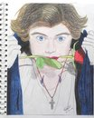 Harry Styles drawing with a rose