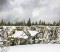 Harsh northern Misty landscape. Ruskeala marble quarries in Kare Royalty Free Stock Photo
