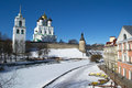 Harsh wall ancient pskov kremlin krom trinity orthodox cathedral bell tower embankment sunny winter day pskov russia Stock Photography