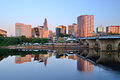 Hartford connecticut skyline of from above the river Royalty Free Stock Photo