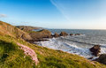 Hartland quay in devon cliffs at on the coast near bideford Royalty Free Stock Photography