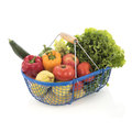 Harvest basket with vegetables and fruit