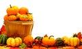 Harvest border basket autumn pumpkin and vegetable Royalty Free Stock Images
