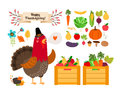 Harvest clip art vector fruits vegetables for and thanksgiving and menu rooster with the with love Stock Photo