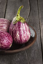 Harvest of eggplant graffiti on a dark wooden background. Royalty Free Stock Photo