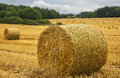 Harvest field with straw bale - close up. Royalty Free Stock Photo