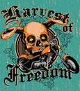 Harvest of freedom winged skull over motorcycle illustration Royalty Free Stock Photo