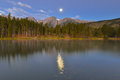 Harvest Moon, Hallett Peak, Sprague Lake, Rocky Mountain Nationa Royalty Free Stock Photo