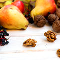 Harvest - nuts, apples, pears Royalty Free Stock Photo