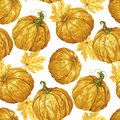 Harvest season pumpkin vector seamless pattern