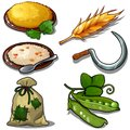 Harvest set - porridge, raw green peas, sack of grain. Natural and food thematic six icons isolated on white. Vector