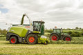 Harvester cutting field loading silage into a tractor trailer claas fendt Royalty Free Stock Photo