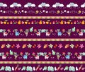 Harvesting. Seamless striped pattern with cute cartoon characters. Little raccoons, clouds, autumn leaves, fruits and vegetables.