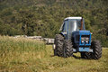 Harvesting triticale for silage farmers harvest a crop of on a dairy farm Royalty Free Stock Photography