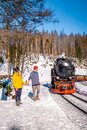 Harz national park Germany, historic steam train in the winter, Drei Annen Hohe, Germany,Steam locomotive of the Harzer Royalty Free Stock Photo