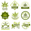 Hashish, rastaman, hemp, cannabis vector logos and labels set Royalty Free Stock Photo