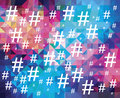 hashtag icon on colorful background.